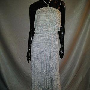 Gray & white halter Rayon high low sundress Sz M